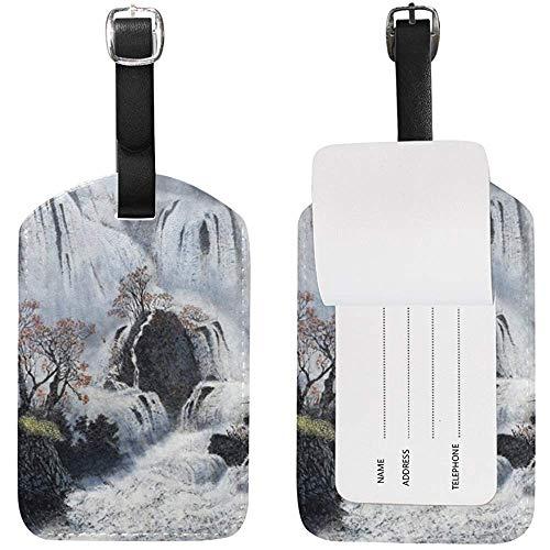 Wasserfälle und Nebel Gepäckanhänger Travel ID Label Leder für Gepäck Koffer 2 Stück