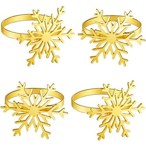 Boao 6 Stück Schneeflocke Serviettenringe Weihnachten Schneeflocke Serviettenhalter Ringe für Weihnachten Feiertag Tischdekoration Zubehör (Gold)