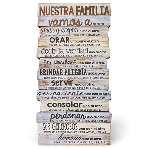 Lighthouse Christian Products Nuestra Familia, Our Family Rustic Stacked Pallet 5 x 10 Wood Desktop Plaque