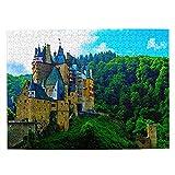 FX02266 Puzzle mit Motiv Deutschland Castle Burg Eltz, 500 Teile für Erwachsene und Kinder, aus Holz, Reisegeschenk, Souvenir, 51,8 x 38,1 cm