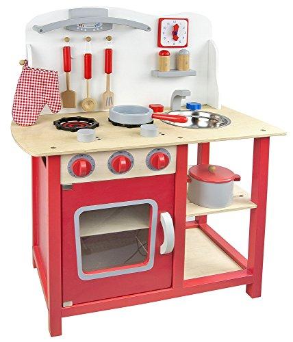 Leomark Classic Spielküche aus Holz - Farbe Rot - Kinderküche mit Zubehör, Holzküchemit Waschbecken, Pfanne, Backofen, Kochtopf, Küchenhelfern, Uhr, Funktionale Bunte Spielzeug, für Mädchen und Jungen, Höhe 75 cm - 8