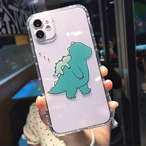 LIUYAWEI para iPhone 11 Creativity Soft Phone Case para iPhone 11 Pro MAX XS MAX XR X 7 8 Plus Dinosaurio Contraportada Transparente a Prueba de Golpes, T4, para iPhone 7 Plus