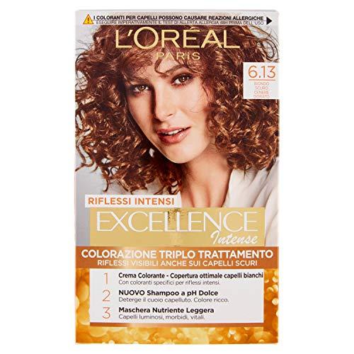 L'Oréal Paris Excellence Creme, tinte colorante con triple tratamiento avanzado, cubre los cabellos blancos 6.13 Biondo Scuro Cenere Dorato