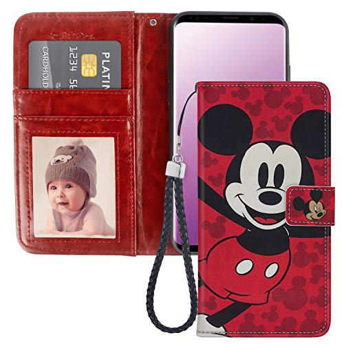 DISNEY COLLECTION Wallet Case Fit Samsung Galaxy S9 5.8' Mickey Mouse Cartoon Red with Magnetic