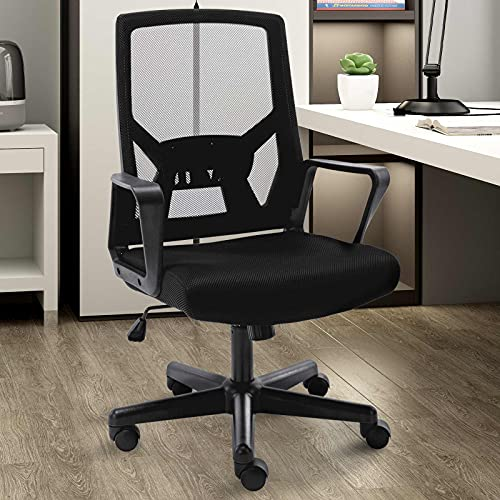 Ergonomic Office Chair with Foldable Backrest, Mesh Home Office Computer Task Desk Chairs with Adjustable Height,Lumbar Suppor and 360 Degree Universal Wheels(Black)