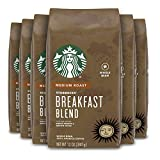 Starbucks Medium Roast Whole Bean Coffee — Breakfast Blend — 100% Arabica — 6 bags (12 oz. each)