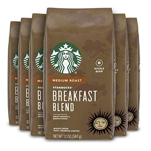 Starbucks Medium Roast Whole Bean Coffee — Breakfast Blend — 100% Arabica — 6 bags (12 oz. each)