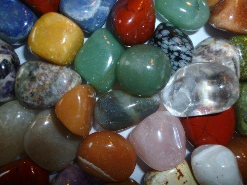 Jumbo Edelsteine (1kg) - hochwertige Trommelsteine - einzigartige Auswahl - 20-24 Steine - Bergkristall & Rosenquarz