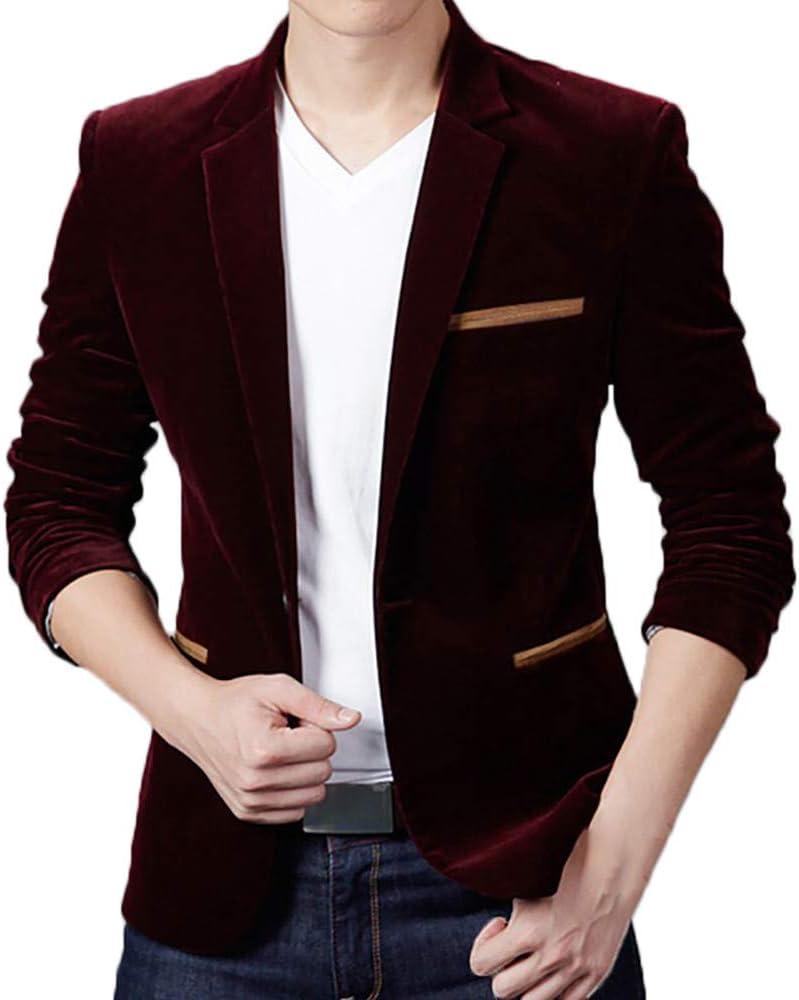 Nice Clothes Men's Vintage Autumn Winter Casual Work Wear Corduroy Slim Suit Blazer Jacket Blazer Coat Top T12