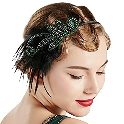 BABEYOND 1920s Flapper Headband Accessories Roaring 20s Feather Hair Band Vintage Gatsby Party Accessories
