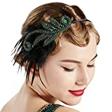 BABEYOND 1920s Flapper Headband Accessories Roaring 20s Feather Hair Band Vintage Gatsby Party Accessories (Green)
