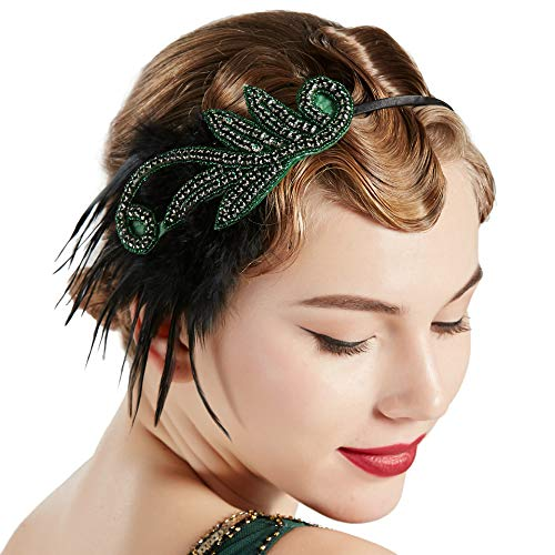 Coucoland 1920s Feder Haarreif Stirnband Damen 20er Jahre Stil Flapper Charleston Haarband Great Gatsby Damen Fasching Kostüm Accessoires (Grün)