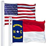 G128 Combo Pack: USA American Flag 3x5 Ft 150D Printed Stars & North Carolina State Flag 3x5 Ft 150D Printed