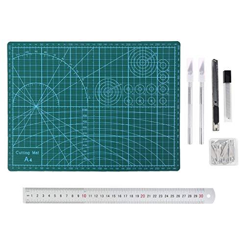 Boji Carving Craft Juego de cuchillos, juego de cuchillos A5, tabla de cortar, regla para manualidades y scrapbook de 55 unidades