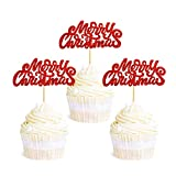 Ercadio 36 Pack Red Merry Christmas Cupcake Toppers Glitter Xmas Holiday Cupcake Picks Christmas Party Cake Decorations