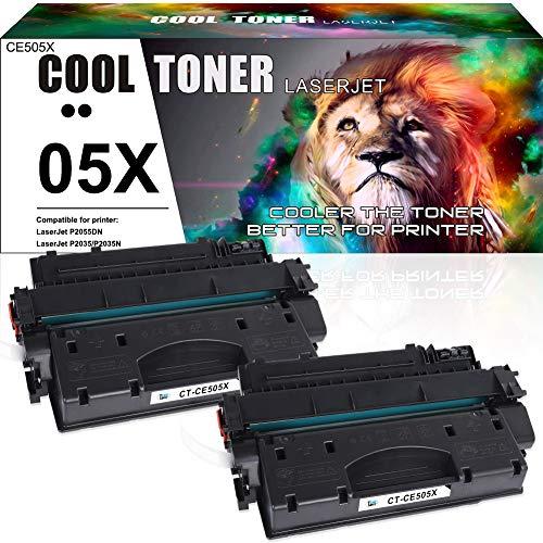 Cool Toner Compatibile per HP CE505X CE505A 05X 05A Toner per Cartuccia Toner per HP LaserJet P2030 HP LaserJet P2035 P2035N HP LaserJet P2050 HP LaserJet P2055 P2055D P2055DN P2055X, Nero