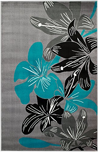 Summit 36 New Grey Torquoise Area Rug Modern Abstract Many Available, 22 INCH X 35 INCH SCATTER DOOR MAT SIZE
