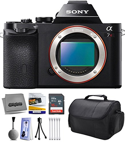 Sony a7R Full-Frame 36.4 MP Mirrorless Interchangeable Digital Lens Camera - Body Only (ILCE7R) with Starter Accessories Bundle Kit includes 16GB Class 10 SDHC Memory Card + Hard Shell Carrying Case + Camera Lens Cleaning Kit + Bonus for Digital Prints