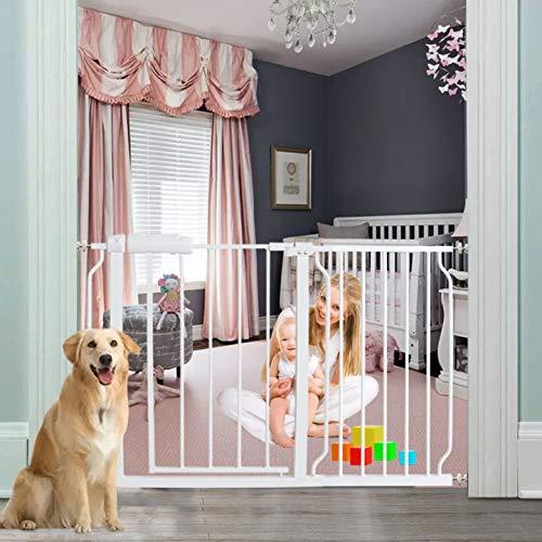 AIKSSOO Baby Safety Metal Gate Pressure Fit Walk Thru Extra Wide Gates 158-170CM White