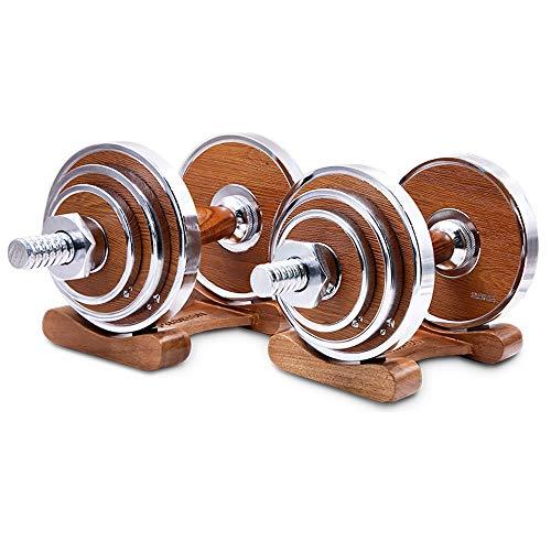 Liberty trainingshalter van staal, voor hometraining, fitness, lade, handvat van walnoothout, spieroefening, armlevering voor mannen, 20 kg