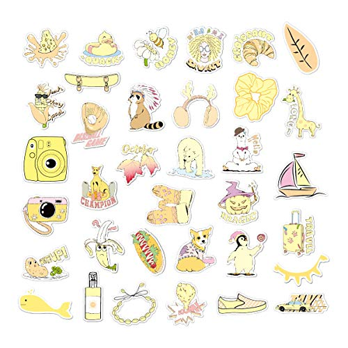 Diseño Original Personalidad Graffiti Maleta Impermeable Etiqueta Amarilla pequeña Fresca vsco Etiqueta 35PCS