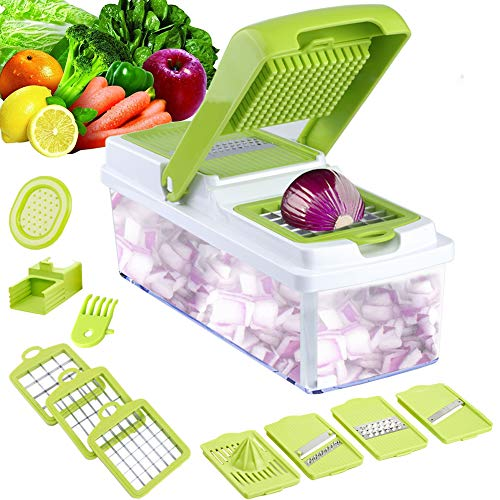 Vegetable Slicer Dicer WEINAS Food Chopper Cuber Cutter, Cheese Grater Multi Blades for Onion Potato Tomato Fruit