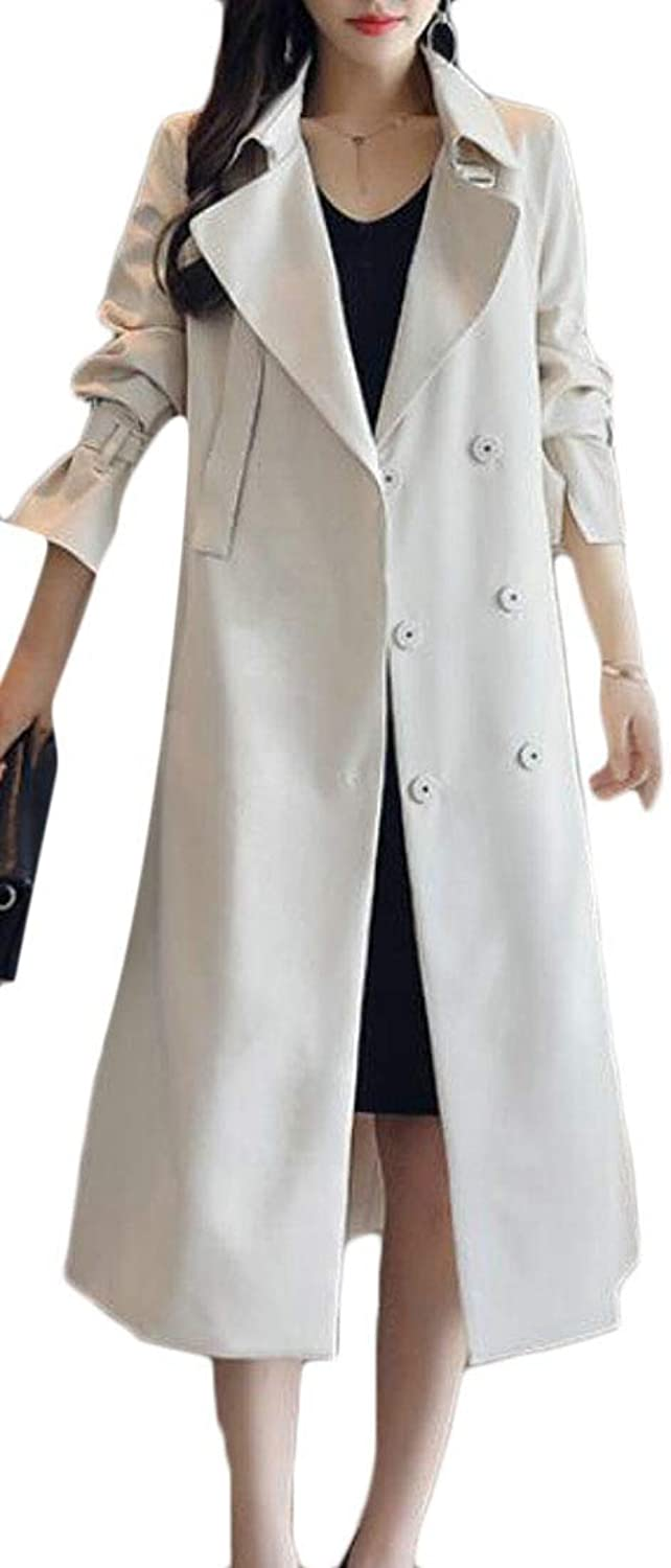 Joe Wenko Womens Stylish Notched Lapel Belted Snap Button Long Trench Coat
