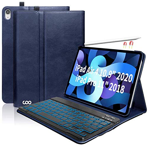 """iPad Keyboard Case for New iPad Air 4 Generation 10.9"""" 2020/iPad Pro 11"""" 2018, Leather PU Sewing Case with Detachable 7 Color Backlit Wireless Keyboard for iPad Air 4th 2020"""