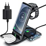 Cargador Inalámbrico, ZHIKE 4 en 1 de Carga rápida de 10 W con Certificación Qi, Compatible con iPhone 11 Series/XS/XR/X, Huawei, Samsung, Airpods, Galaxy Watches y Buds (no para Apple Watch)