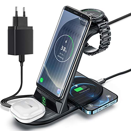 Induktive Ladestation, ZHIKE 4 in 1 Wireless Charger 10W kabelloses ladegerät kompatibel mit Samsung S20/ S20 +/S10 Plus/S10E/S9/Note 10/10E/9/9+,Galaxy Watch 3/Active 2,1/Gear S3/S2/Sport and Buds