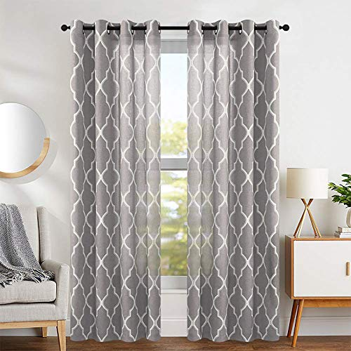 """jinchan Curtains Charcoal Grey Linen Living Room Drapes Light Filtering Moroccan Tile Print Window Treatment for Bedroom Curtain Flax Textured Geometry Lattice Grommet Dining Room 50""""W x 84""""L 2 Panels"""