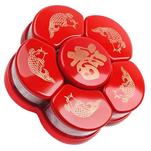 Hemoton Runde Rotierende Candy Box Red Fu Charakter Fisch Reichtum Erfolg Vintage Mond Neujahr Snack Container für Kekse Teiler Asiatische Heimat Hochzeit Serviertablett mit Deckel