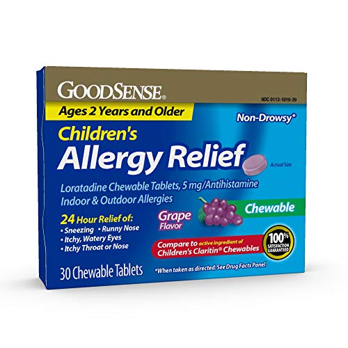 Good Sense Children's Allergy Relief Loratadine Chewable Tablets, Grape, 30Count