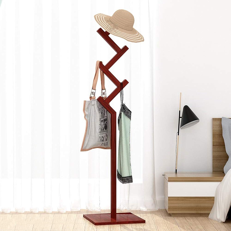 Chunlan Coat rack Floor-Standing Hanger Shelves Solid Wood Single-Rod Easy to Assemble (color   Reddish Brown)