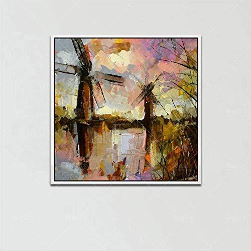 Schilderij met olieverfschilderij, op canvas, Abstract Naturland, schilderijmes, zonsondergang, kleurrijke hemel, marrone, modern, kunst Pop Dia, maat A Mano Wal 110×110 cm/44×44 inch