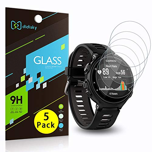 Didisky Vidrio Templado [4-Unidades] para Garmin Forerunner 735XT, Película Protectora [Soft Touch] Fácil de Limpiar, Fácil de Instalar, Transparente