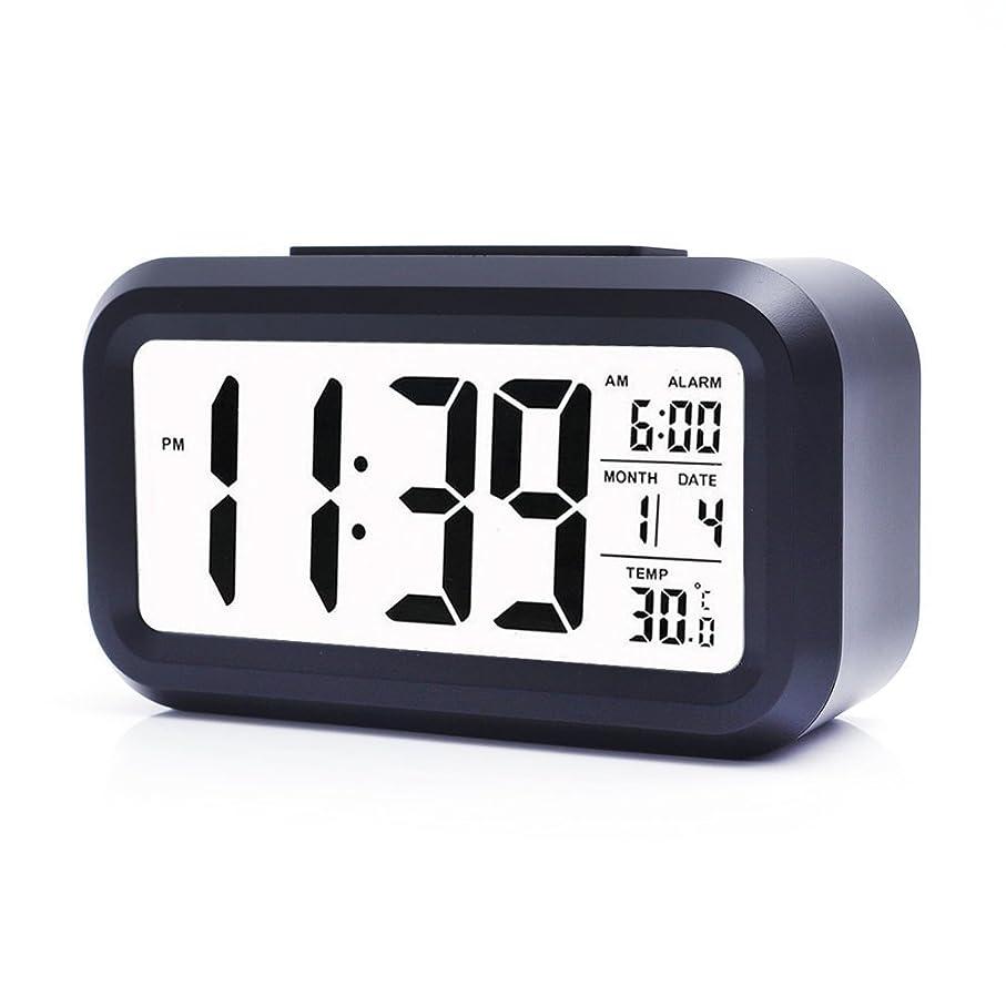 みマチュピチュ不和トラベルクロック デジタル 目覚まし時計 夜間ライト 旅行クロック 旅行アラーム時計 スリムLEDクロック ,ロックスマートバックライトアラーム時計 デスククロックめざまし時計 大きい文字 見やすい 多機能 置き時計(with大型LCD表示日付、温度、Snooze、オフィス寝室用旅行 (Black)