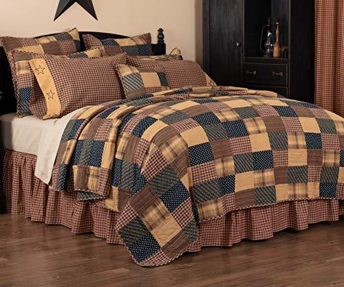 VHC Brands Primitive Bedding Patriotic Patch Cotton Patchwork Sham California King Quilt Set, Deep Red
