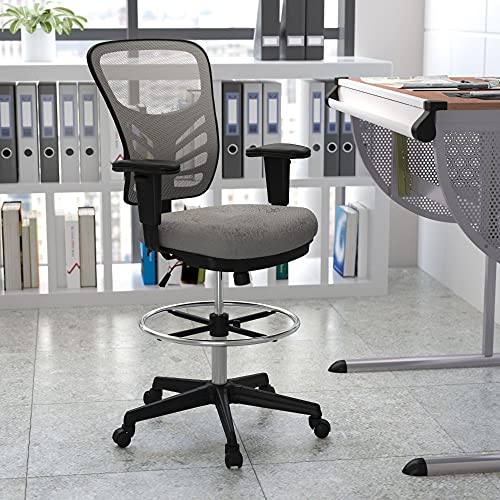 Flash Furniture Mid-Back Light Gray Mesh Ergonomic Drafting Chair with Adjustable Chrome Foot Ring, Adjustable Arms and Black Frame