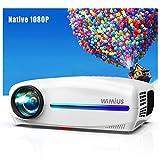 WiMiUS Proyector Full HD 1920x1080p Vídeoproyector, 7000Lux proyector Cine en Casa
