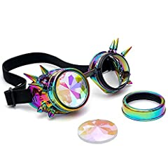AMhomely Unisex Polarized Steampunk Sunglasses Diffracted Lens Vintage Retro Round Sunglasses Cyber Goggles Kaleidoscope Punk Hippy,Comfort Ideal for Cosplay,Fancy Dress Costumes (Multicolor) #3