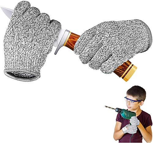 IYQOL® Schnitzhandschuhe Kinder, Schnittsichere Handschuhe für Kinder, Lebensmittelecht, Extra Starker Level 5 Schutz, Geeignet für 3-5 Jährige, XXXS