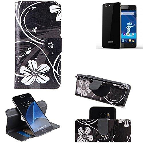 K-S-Trade® Schutzhülle Für Haier Phone L53 Hülle 360° Wallet Case Schutz Hülle ''Flowers'' Smartphone Flip Cover Flipstyle Tasche Handyhülle Schwarz-weiß 1x