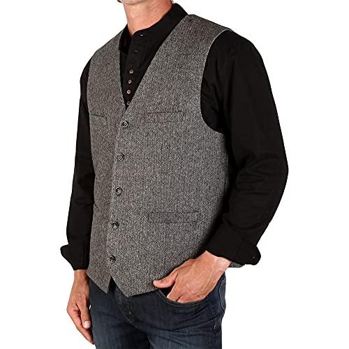 The Celtic Ranch Men's 50% Wool Tweed Vest, Full Back with Fabric Belt, 4 Pockets, Herringbone Pattern, Grey, Large