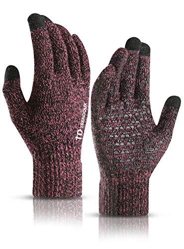 TRENDOUX Handschuhe Damen Winter, Handschuhe Herren Touchscreen Smartphone - Rutschfester Griff - Elastische Manschette - Warm Gefüttert - Winddicht Strickhandschuhe Fäustlinge zum Sport - Rose M