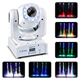 U`King 50W Moving Head Stage Lights 8 Gobos RGBW LED Spotlight with Marquee/Static LED Circle 9/11 Channels DMX for Disco Club Party Wedding Lights