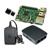 Raspberry Pi 3 Model B Bundle / Starter Set mit offiziellem Gehäuse, 2,5A Netzteil und Kühlkörper (schwarz)