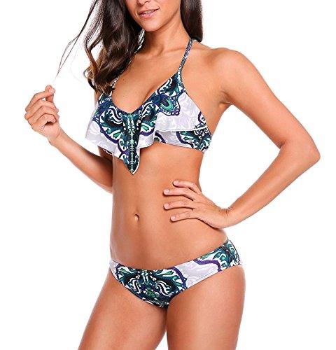 Ekouaer Womens Push up String Exotic Style Bikini Swimwear, Blue, Large