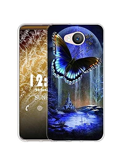 Sunrive Kompatibel mit Elephone P9000 Lite Hülle Silikon, Transparent Handyhülle Schutzhülle Etui Hülle (Q Schmetterling 3)+Gratis Universal Eingabestift MEHRWEG