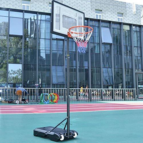 Canasta de Baloncesto móvil con Ruedas, Altura Ajustable 1.6M-2.1M, Sistema de Baloncesto Ajustable para Interior y Exterior